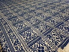More details for large tapestry throw blue white -wool and cotton?? 225cm x 163cm xllnt cndtn