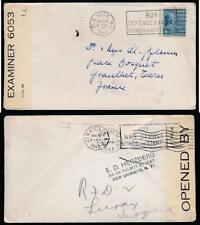 USA to FRANCE SERVICE SUSPENDED 1941 BERMUDA CENSOR + RETURNED 1943 JAMAICA NY