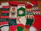 Lot 5 Vtg Knitted Christmas Stockings Trees Angels JOY Bear Santa Renee Leilani