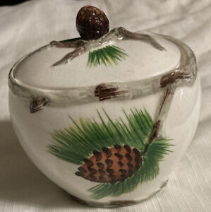 Sugar Bowl With Embossed Acorn And Branches With 355 On Bottom