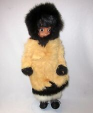 """ESKIMO DOLL SLEEPY EYES 13"""" HAND CRAFTED RABBIT FUR CLOTHING LEATHER SHOES STAND"""