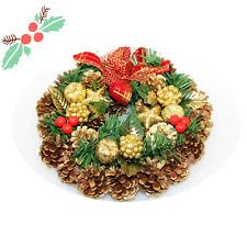 "11"" Artificial Pine Cones Wreath Garland Christmas Door Wall Decor Ornament"
