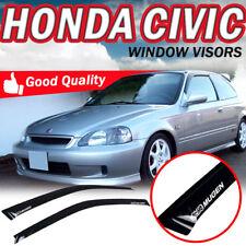 For 96-00 Honda Civic 3Dr Sun Window Visor Dark Smoke Acrylic W/Mugen Sticker