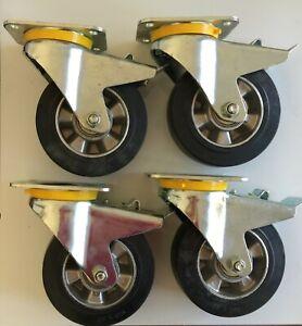160mm– Heavy duty industrial castors – 4pcs all braked, Rubber wheels