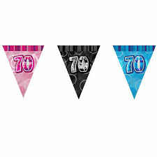 12ft Foil Glitz Pink 70th Birthday Bunting Flags