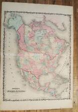 Antique Colored MAP - JOHNSON'S NORTH AMERICA / Johnson's Family Atlas 1863