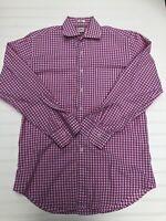 Peter Millar Mens Shirt Medium Pink White Gingham Long Sleeve Dress Button Down