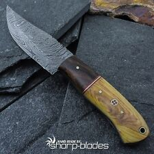 CUSTOM MADE DAMASCUS STEEL FULL TANG HUNTER KNIFE WITH OLIVE WOOD HANDLE # 779