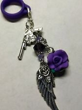 Gun Purple Crystals - Silicone Lanyard Ring Mod Charm - Guns and Roses - Feather