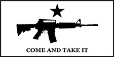 "Texas Come and Take it White Machine Gun Decal Vinyl Bumper Sticker (3.75""x7.5"")"