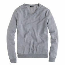 XL J. CREW Slim Fit Merino Wool V Neck Pullover Sweater in Heather Grey $78 ORP