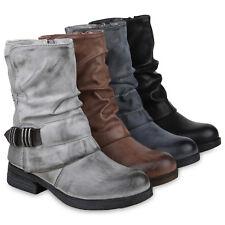 Damen Stiefeletten Biker Boots Gefütterte Stiefel Metallic 824943 Schuhe