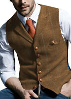 Mens Vintage Tweed Waistcoat Herringbone Wool Vests Suit Notch Lapel Silm M-3XL