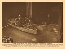 Thames Police on the night patrol guarding the safety of the river 1926 print