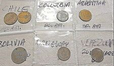 Lot Of 7 Assorted South America World Coins