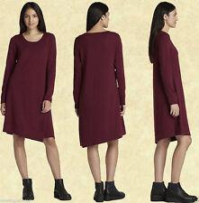Eileen Fisher NWT $278 burgundy 100% wool long sleeve tunic dress size XL