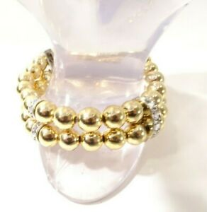 Banana Republic Women's Mirror Gold Ball Crystal Ring Stretch Bracelet NWT 50.00