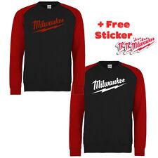 MILWAUKEE Black / Red Logo SWEATER CREWNECK Sizes S - 2XL Work Wear Power Tool