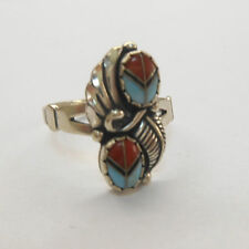 WHEELER STERLING SILVER FEATHER ACCENT DOUBLE TURQUOISE CORAL RING SIZE 8 **