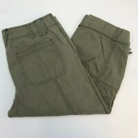 Eddie Bauer Capri Pants Women's Size 6 Green Multi-Pocket Pull String Hem Casual