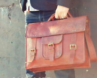 True Leather Goat Laptop Bag Briefcase Messenger Shoulder Vintage Brown New Real