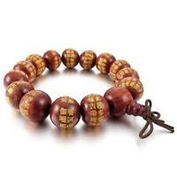 14mm Wood Bracelet Link Bracelet Wrist Red Beads Tibetan Buddhist Prayer Be X7L5