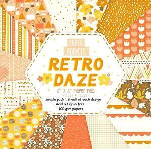 RETRO DAZE Paper Addicts 6 x 6 Sample paper Pack Yellow & Orange 15 Sheets