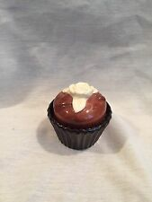 Porcelain Candle Holder Shaped Like Chocolate Cupcake With Ivory Rose On Top