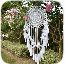 Large Bono Dream Catcher with Feather Hanging Wedding Decoration Ornament White