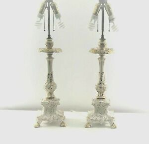 Vintage Gold and Ivory 28 in length, two bulb Lamps.
