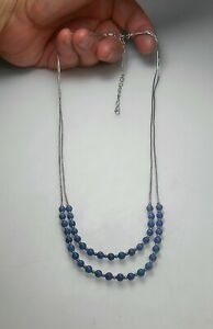 """STERLING SILVER 20"""" - 24"""" Awesome Handmade Navajo Lapis Beaded Necklace MINT"""