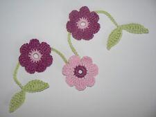 Blumen Girlande Häkelblumen ca.35 cm gehäkelt Blüten Aufnäher Rosa/Grün