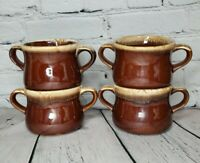 4 Vintage McCoy Two Handle Soup Bowl Mug  Brown Pottery Drip Glaze French Onion