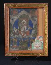 Weißer Jambhala. Antiker Thangka. Mongolei White Jambhala Kubera (Buddha thanka)