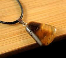 Natural Tigers Eye Gemstone Fashion Pendant on a Black Cord Necklace #1911