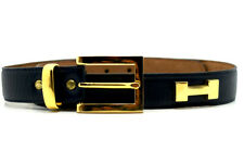 Stephen Collins Womens Waist Leather Belt Navy Blue with H Studs Size 30 - Rare