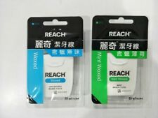 2pcs x Reach Dental Floss 50m (1 Unflavored Waxed & 1 Mint Waxed) Total 100m New