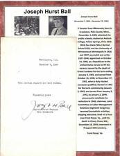 Joseph H Ball Autograph Senator Minnesota Taft-Hartley Act United Nations