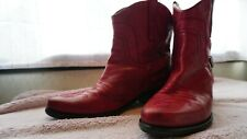 Franco Sarto Red Western Cowboy Ankle Boots Womens Size 8.5 US