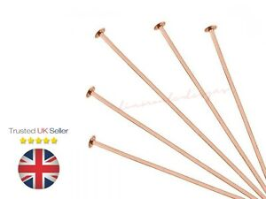 40mm Rose Gold Plated Head Pins Jewellery Findings 0.7mm Thickness 2.2mm Head UK