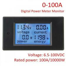 100A DC Digital Volt Voltage KWh Watt Current Power Meter Ammeter LCD Voltmeter