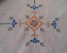 Vintage Italian Linen Tablecloth Petit Point Embroidery Blue Orange Hemstitch 45