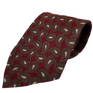 Mens COACH Italian Silk Tie (Short) Burgundy Paisley F6861