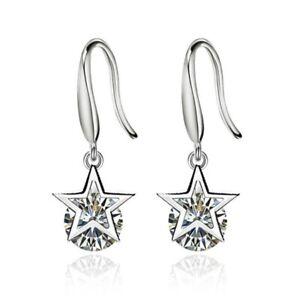 925 Sterling Silver Star Earrings Crystal Dangle Drop Hook UK Seller