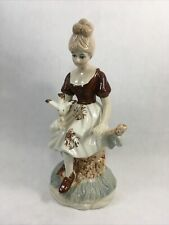 Young Girl with Birds Figurine Vintage Painted Porcelain Maiden Girl Figure 7.5""