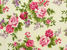 Romantik Rosenstoffe Stoff Pink Rosa Flieder Rosen Blätter Blüten Rosenstrauß BW