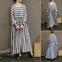 Damen O Neck Langarm Kleid Hemdkleid Gestreift Strand Baggy Freizeit Maxikleid
