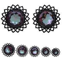 1 Pair Flower Ear Plug Stainless Steel Plugs Crystal Tunnel Black Flesh Tunnels