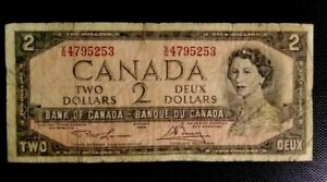 CANADA 1954 TWO DOLLARS BILL-USED BANKNOTE