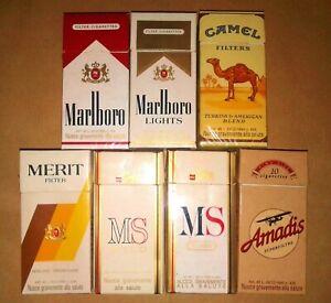 Lotto 11 - 7 Pacchetti (VUOTI) Sigarette da 10 Camel Marlboro MS Merit Amadis